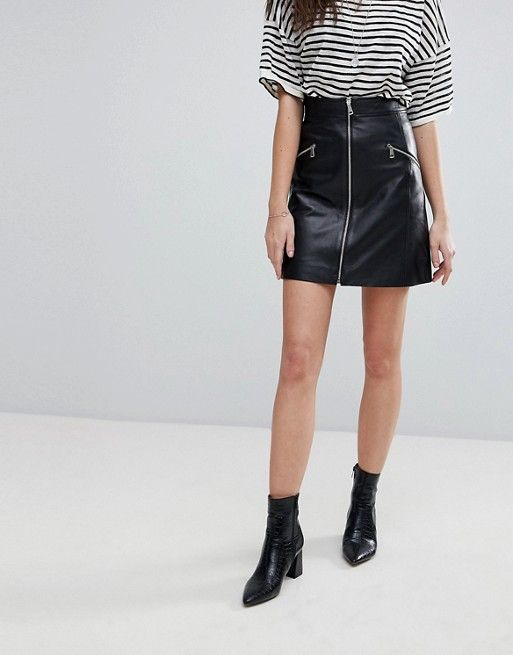 439de1b628e538 Lab Leather Skirt with Exposed Zip   Wish List   Leather skirt ...