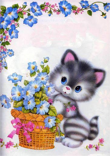 lindo  Flower basket cat
