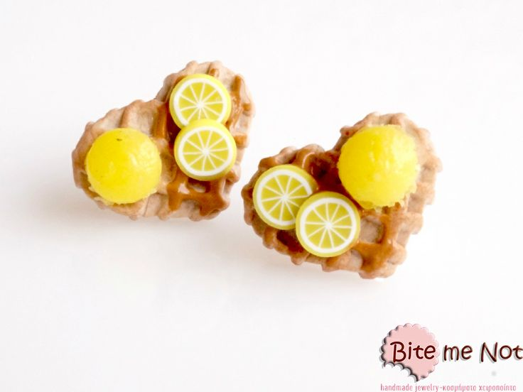 Waffles with lemon ice-cream-realistic food miniatures-non edible-wearable-collectable!