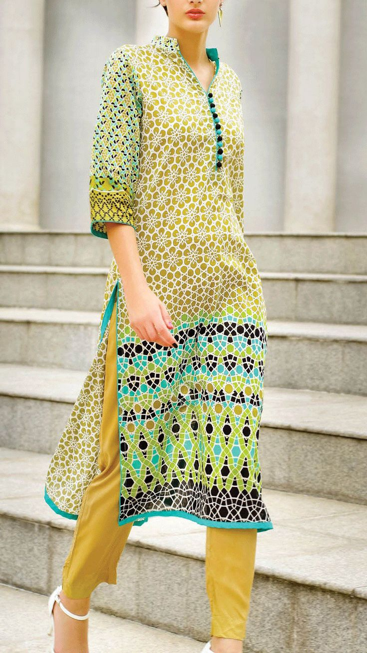 Buy Brown Embroidered Cotton Lawn Kurti by Al Karam Lawn 2015 Collection.