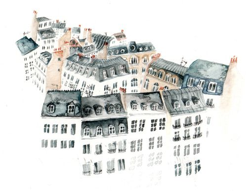 Lucy Eldridge, Les toits de Paris lucyeldridgeillustration: I painted some rooftops of Paris to post to someone.