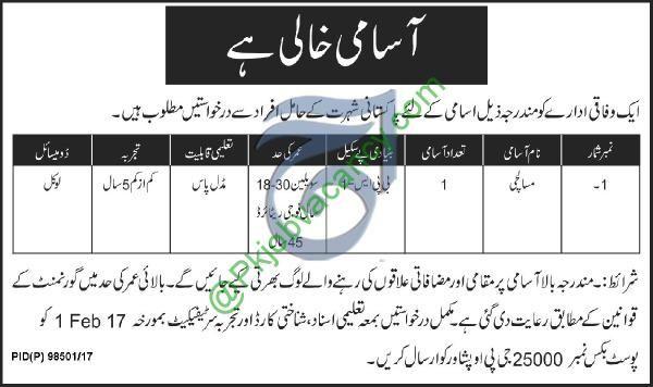 Federal Organization Peshawar Masalachi Po Box 25000 Jobs 24 January 2017