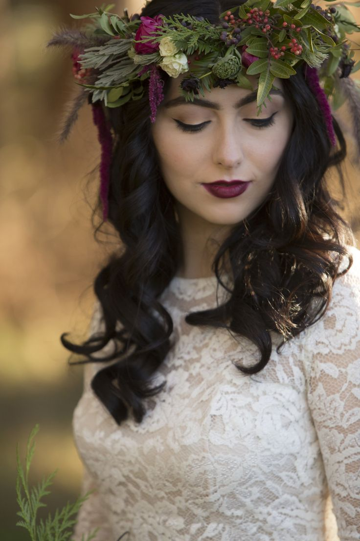 247 best flower crowns images on pinterest flower crown wedding boho chic wedding hairstyle curled bridal hair leafy flower crown red berries dhlflorist Images