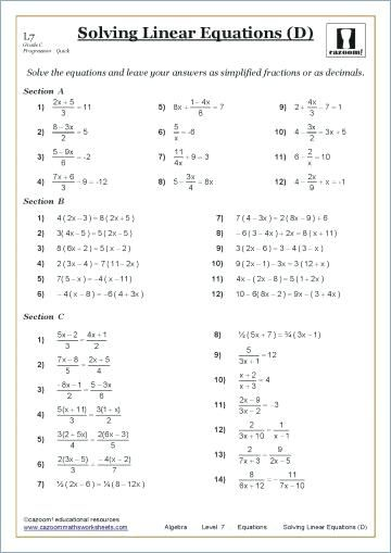 Image Result For Grade 9 Math Worksheets Linear Equations Algebra Worksheets Solving Linear Equations Math Worksheets