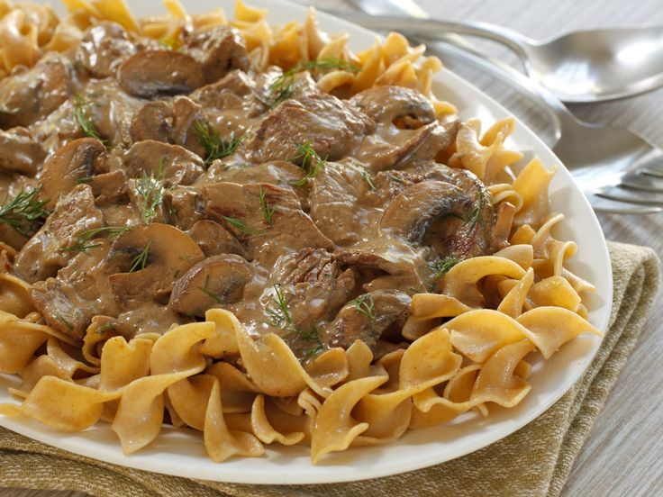 Facebook Pinterest Print8 Servings Ingredients 1 1/2 lb boneless beef sirloin steak 2 teaspoons canola oil 1 cup chopped onion (1 large) 1 teaspoon finely chopped garlic 2 cups Progresso™ beef flavored broth (from 32-oz carton) 4 teaspoons Worcestershire sauce 1 teaspoon dried basil leaves 1/2 teaspoon salt 1/4 teaspoon pepper 1/4 cup Gold Medal™ all-purpose flour 1 jar (4.5 oz) Green Giant™ sliced mushrooms, drained 1 tablespoon ketchup 1 cup reduced-fat sour cream 6 cups...