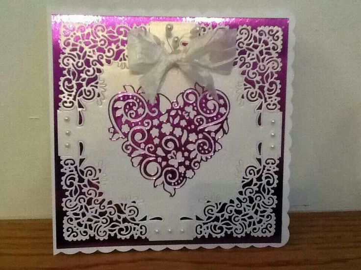 Beautiful card: Tattered Lace Die Cuts- Flourish Heart & Chantilly Diamond (corners)-Love this by Caroline Laskey