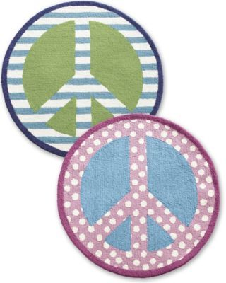 Peace Sign Hooked Wool Rug