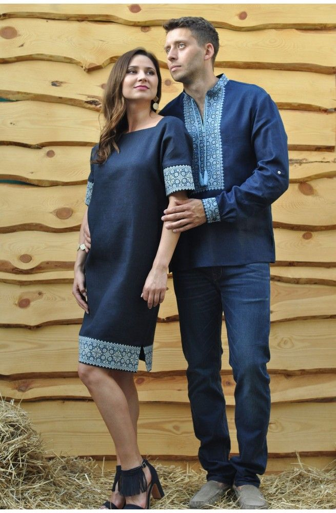 Чоловіча сорочка-вишиванка зі стійкою і довгим рукавом та жіноча сукня-вишиванка з суцільнокроєним рукавом. Тканина льон. Замовити жіночу та чоловічу вишиванку в онлайн-магазині ОРНАМЕНТ з доставкою по Україні. В наявності.