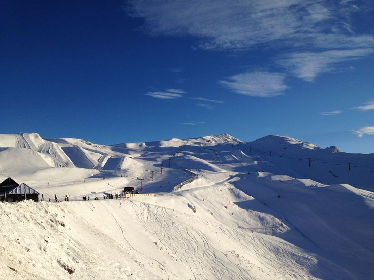 Mt Cardrona this morning! Fresh and ready the be shredded and taken from (tour guide legend) Burto's Iphone.