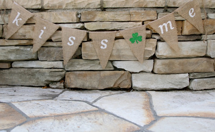 St. Patricks Day Burlap banner -Shamrock - Kiss me - Customize banner - Wedding photo prop