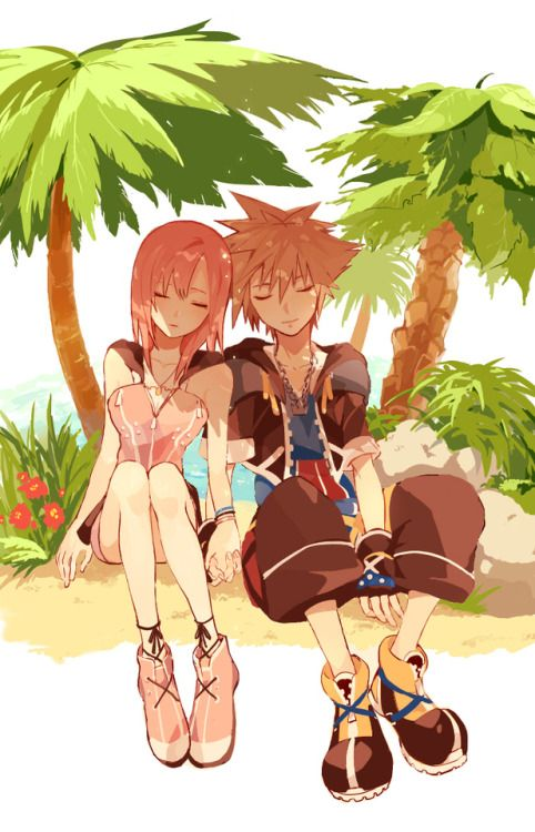 Kingdom Hearts Sora and Kairi. I don't ship them but it's still really cute.