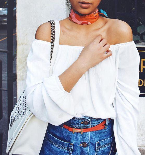theSilkSneaker in her #MissSelfie wearing a Miss Selfridge 60s bardot top
