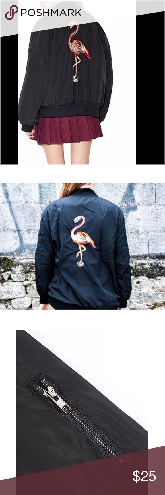 Flamingo Embroidery Lightweight Bomber Jacket 95% Polyester/5% Spandex,Chic and Trendy,Can be easily dress up or dress down. Embroidery Design,Short Jacket,Zipper up,Patchwork at the chest. Jackets & Coats