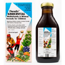 Floradix Kindervital has vitamins & calcium to support formation of bones, cartilage & teeth. Floradix Kindervital is a children's vitamin & mineral formula with herbs in a fruit juice base.