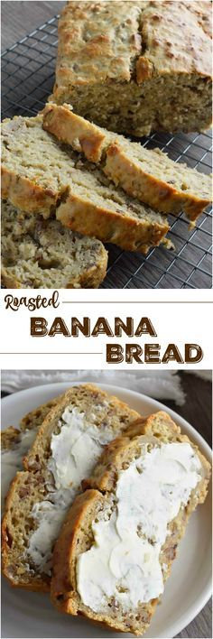 Say goodbye to dry, hard to swallow chunks of banana bread. This Super Moist Banana Bread Recipe is made with Greek yogurt and roasted bananas. This flavorful quick bread is perfect for dessert, breakfast or a snack!