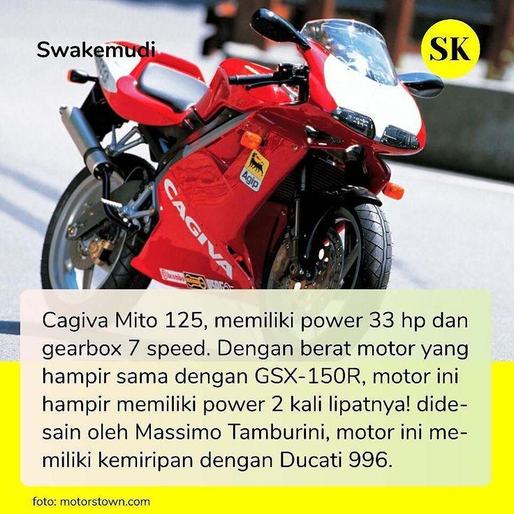 Cagiva Mito 125cc hampir seperti namanya seperti hanya Mitos. Motor ini boleh dibilang sebuah masterpiece di era 2tak karena didesain oleh desainer terbaik di dunia yg juga mendesain #MvAgusta F4.  Memang mesin 2 tak tdk bs dibandigkan dengan mesin 4 tak karena power mesin 2 tak rata-rata 18 kali dari mesin 4 tak.  Kami sendiri di Indonesia baru melihatnya 1 kali di jalanan sewaktu msh kecil. Pernah suatu ketika kami menemukan motor ini dijual di OLX seharga hanya 38jt.  #cagiva #mito…