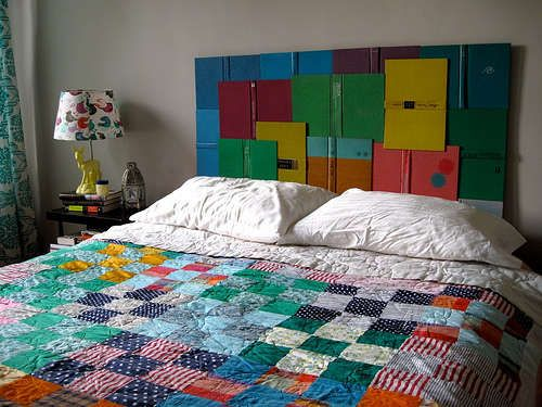 I love the colors of the books with the colorful quilt: Ideas, Bookheadboard, Headboards, Book Headboard, Book Covers, Bedroom