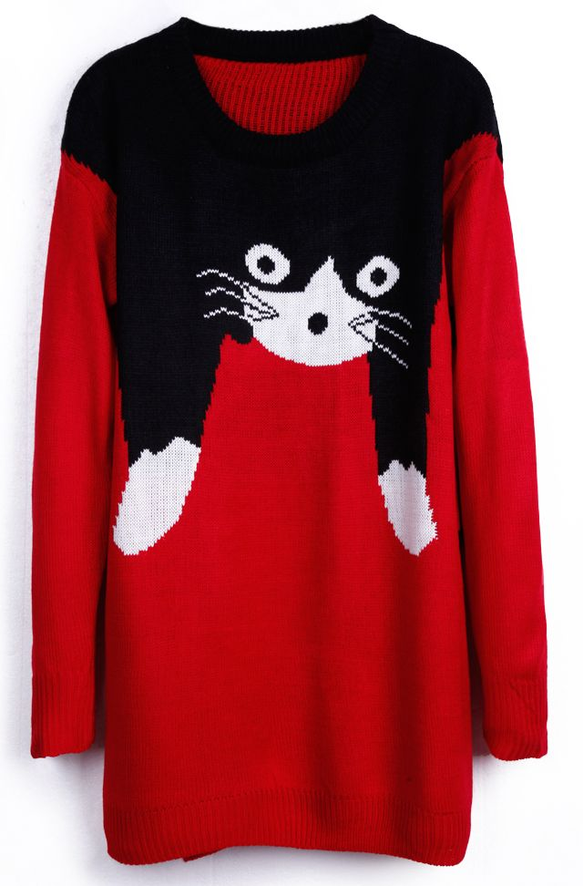 cute cat sweater - i would do this a bit differently LOL I would only have the black on one side so it looks like the cat is dangling itself over a shoulder rather than this which looks like your head is coming out of the cat's back