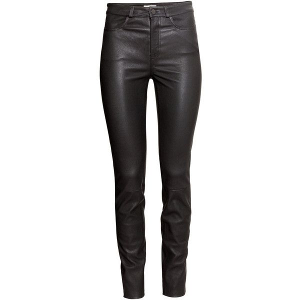 H&M Leather trousers ($310) ❤ liked on Polyvore featuring pants, trousers, h&m, black, black pants, h&m trousers, real leather pants, slim leg pants and leather trousers