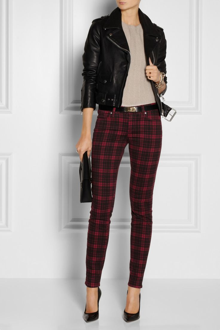Paige | Verdugo plaid mid-rise skinny jeans