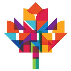 Many geometric shapes are used to create the shape of a maple leaf