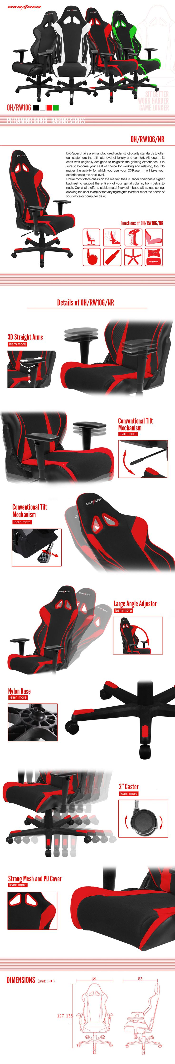 OH/RW106/NR - Racing Series - PC Gaming Chair | DXRacer Official Website