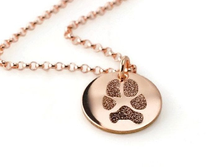Actual paw or nose print in 14k rose gold fill • Includes double sided prints • dog & cat memorial pendant necklace in various diameters