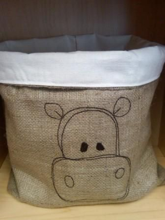 Jute Hippo Storage Bag
