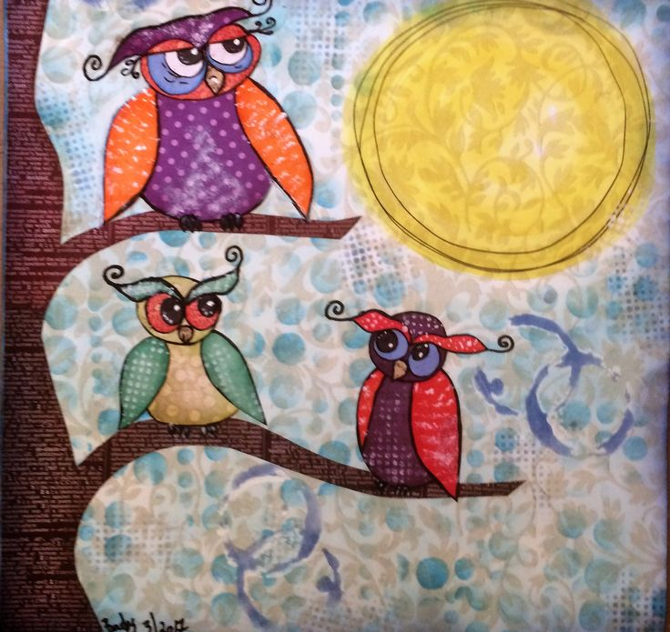 """Barbs Mey The Craftfroom Mixed Media Collage """"Owls for Kelly"""""""