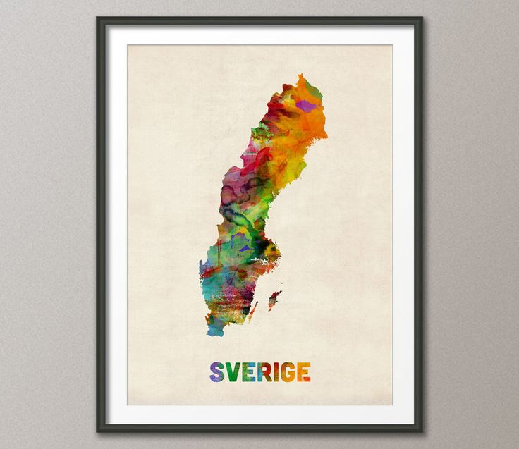 Sweden Watercolor Map (Sverige), Art Print (452) by artPause on Etsy https://www.etsy.com/listing/157716820/sweden-watercolor-map-sverige-art-print