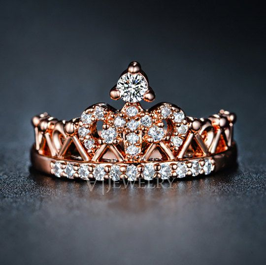 Crown Rose Gold Cubic Zirconia Ring Queen Crown Ring Princess Ring Diamond Double Ring Everyday Modern Trendy Ring, AR0217 by AmodeJewelry on Etsy