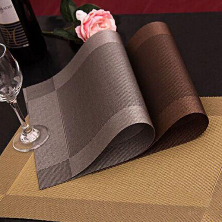 4 قطع الأزياء طاولة طعام حصيرة منصات القرص عاء الوقايات البلاستيكية للماء الجدول القماش سادة زلة مقاومة سادة LH8s