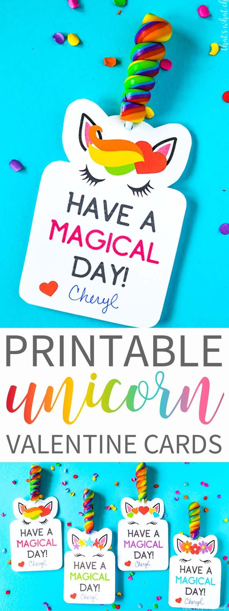 Have a Magical Valentine's Day with these super cute Unicorn Printable Valentine Cards!  Download yours today!