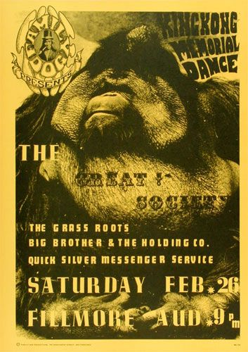 Great Society Family Dog Poster FD2    Great Society   Grass Roots   Big Brother & the Holding Co.   Quick Silver Messenger Service     2/26/1966   Artist: Wes Wilson