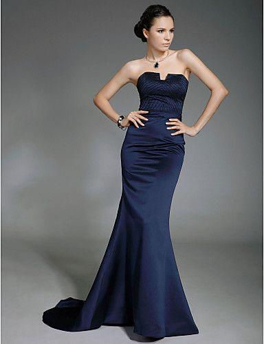 Trumpet / Mermaid Strapless Sweep / Brush Train Satin Evening Dress inspired by Lisa Rinna at Oscar