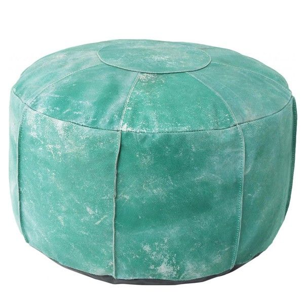 HK Living Leder Pouf türkis -  Sitzkissen aus Leder in grün Oriental Style