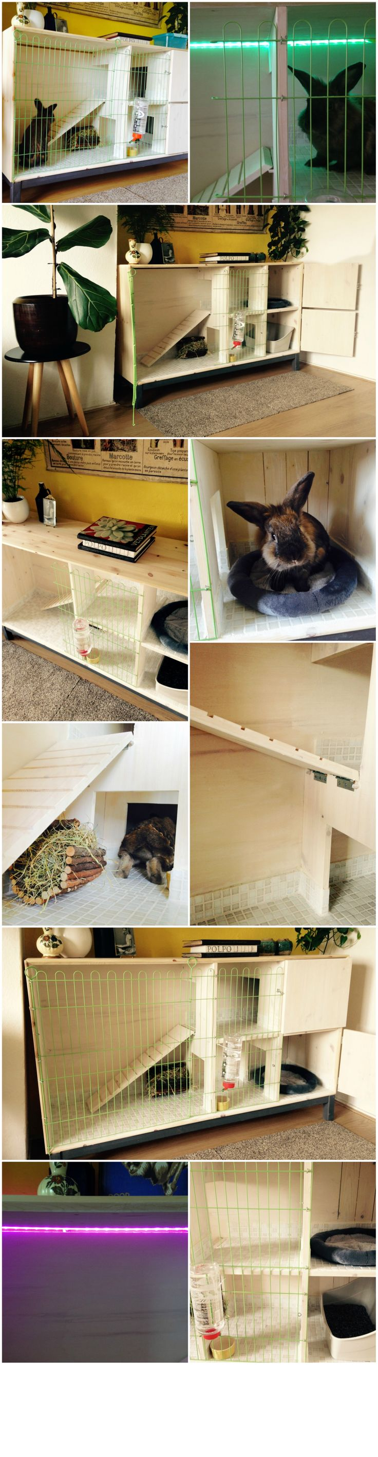 "This is a DIY/ IKEA hack indoor rabbit hutch I made for my rabbit Rein. I used the ""NÖRNAS sidebord basic unit"" from IKEA and ofcourse an IKEA LED-lighting strip to spice things up..."