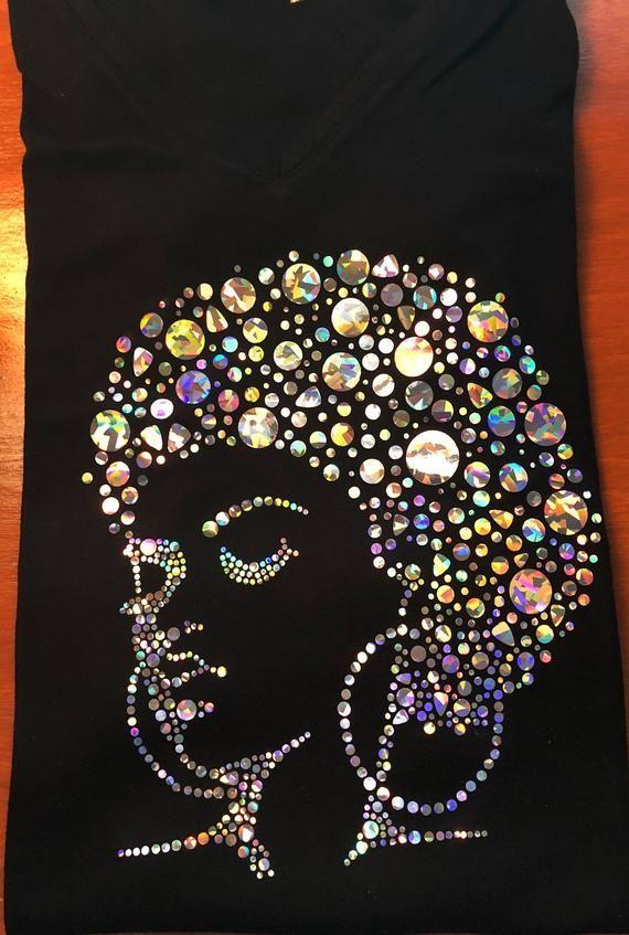 RHINESTONE /& NAILHEAD AFRO LADY TANKTOP SHIRTS,BLACK SIZE:S,M,L,XL,GIRL TOPS