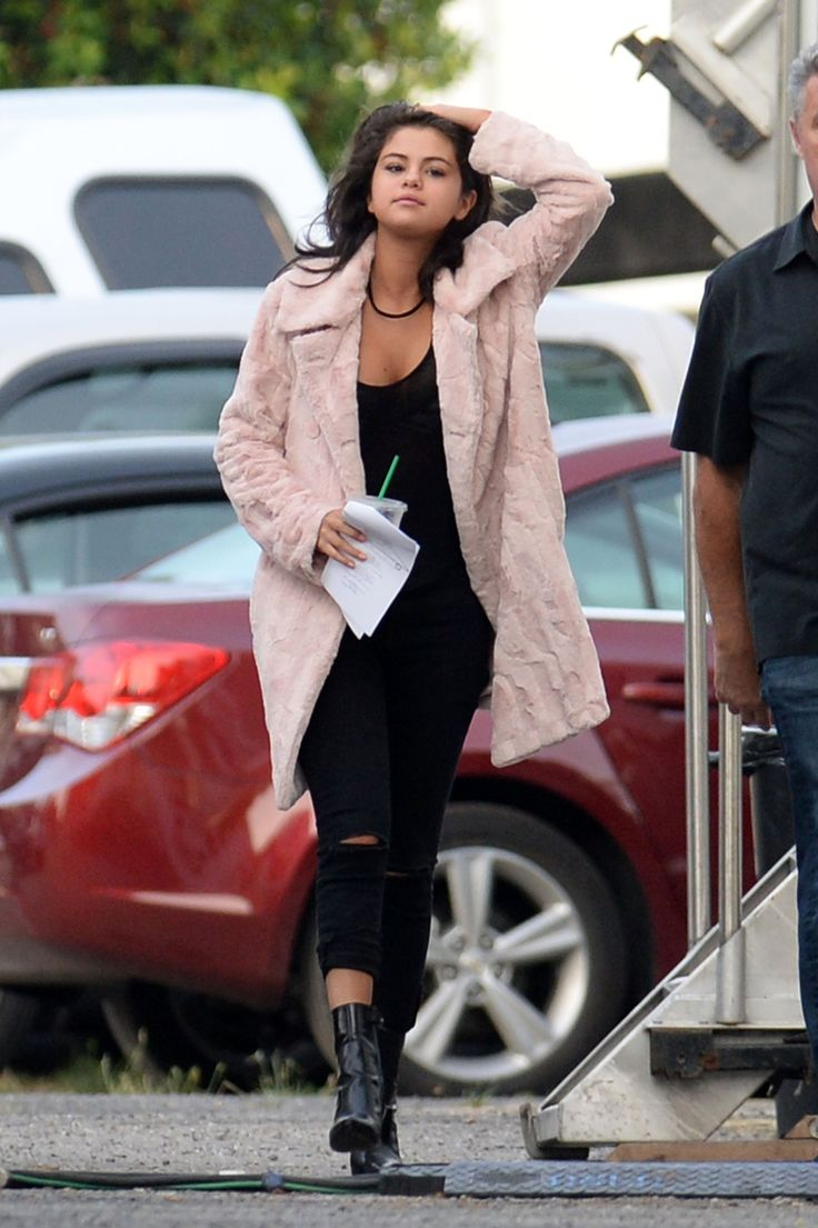 """Selena Gomez arrives on set early to film scenes for """"The Big Short"""" in New Orleans, Louisiana. May 11, 2015. (OMG! You know what this means? She's gonna be in a movie with Ryan Gosling AND Brad Pitt AND Christian Bale AND Steve Carell!!! AHHH!!!)"""