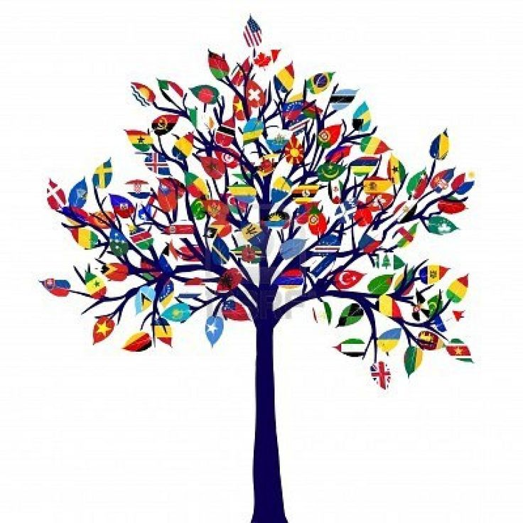 abstract tree with all flags of the world