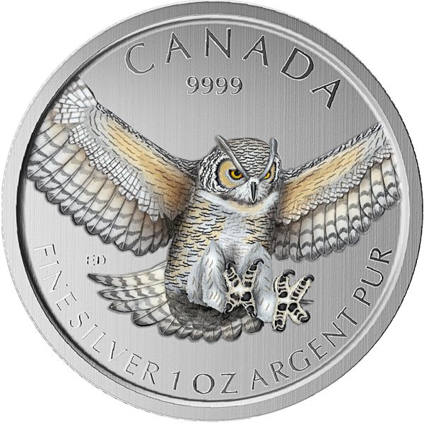 Great Horned Owl 4th Issue - Birds of Prey of Canada. The series is limited to only 5,000 complete collections worldwide. The coin is protected by a capsule and is accompanied by a product card. Virginia-Uhu 4. Ausgabe - Kanada's Greifvögel