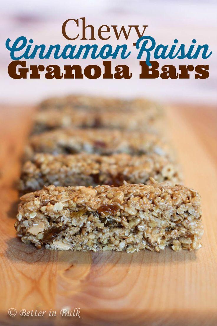 Chewy cinnamon raisin granola bars recipe by Food Fun Family