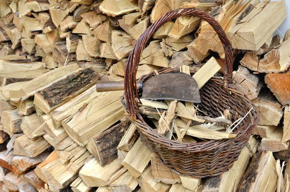 firewood ...  Splitting, basket, billhook, heating, kindling, logs, pieces, pile, rustic, split, timber, tool, winter, woodpiles