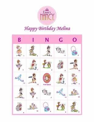 Fancy Nancy Birthday Party Game Bingo Cards | eBay