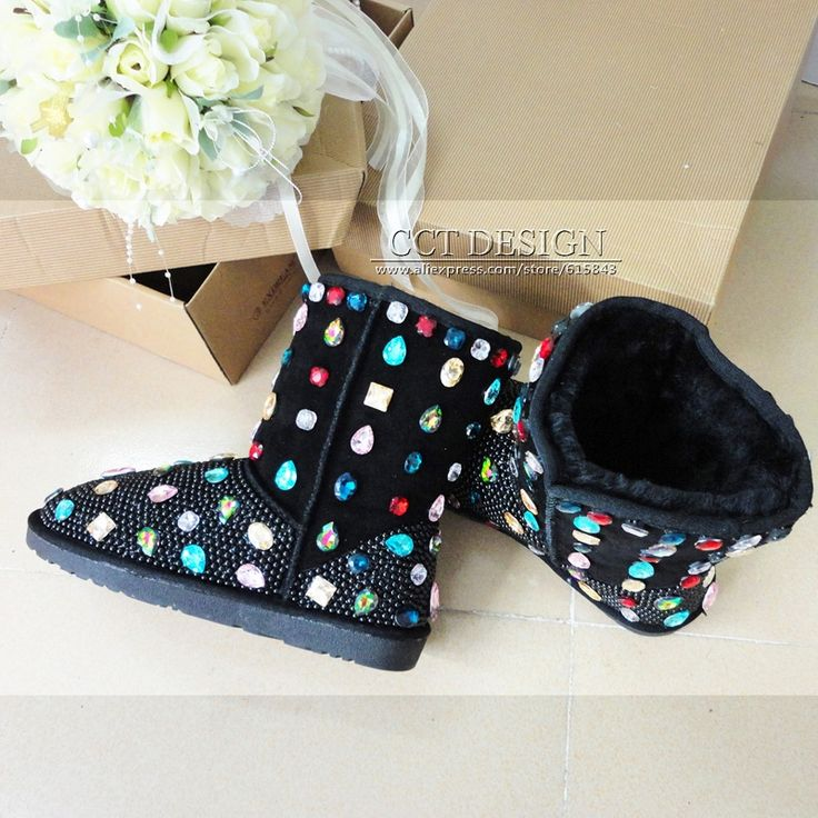 239.00$  Buy here - http://alip48.worldwells.pw/go.php?t=1475437081 - DHL free shipping handmade black pearls winter snow boots with crystals, colored diamond australia snow boots with rhinestones