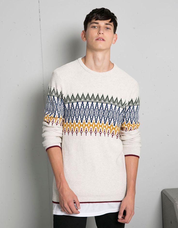 Maglione tricot con striscia jacquard - Maglioni e cardigan - Bershka Italy