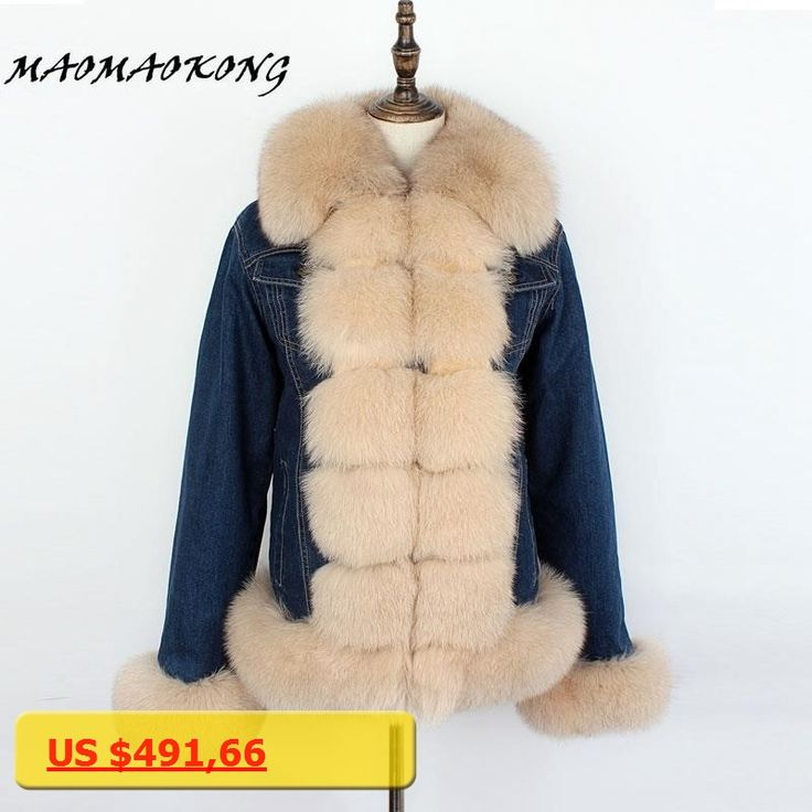 MMK brand 2018 denim parka real fur coat winter jacket women real natural fox fur coat thick warm fur parkas street style new