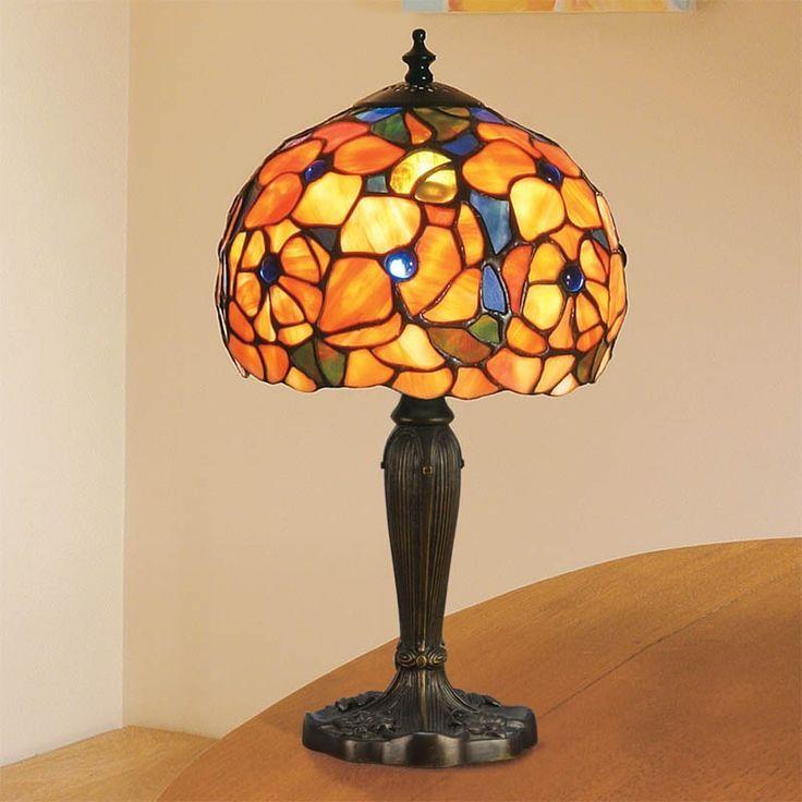 Lampada Tiffany da Tavolo o da Comodino con Fiori Rossi e