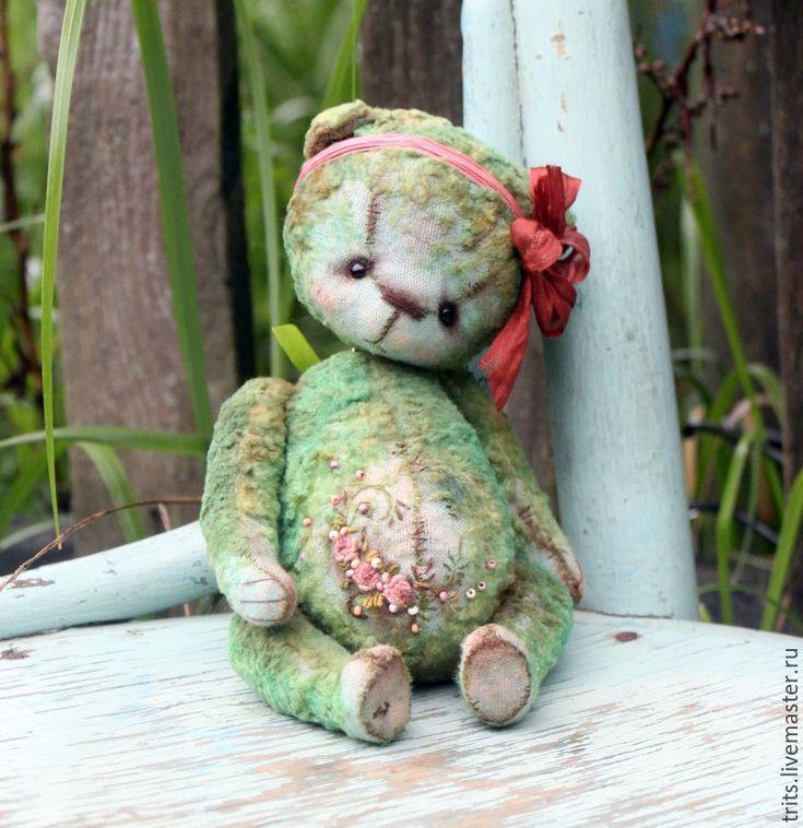 Купить Дуняша - темно-бирюзовый, мишка, мишка тедди, вышивка, Вышивка бисером, розы, роккоко