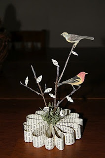 **Inspiration** Making a centerpiece out of book pages.